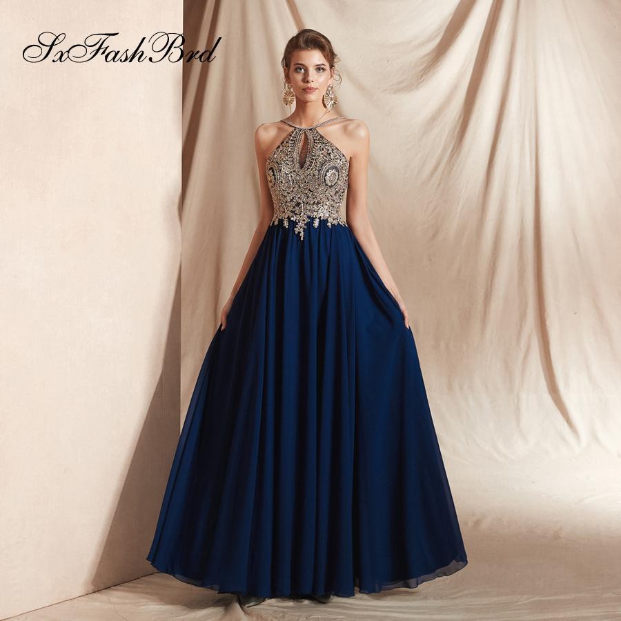 31609136cd9d Elegante vestido de encaje Apliques Halter Neck Open Back A Line Gasa  Fiesta larga Vestidos de noche formales Ocasión especial Mujer Vestido de  gala ...