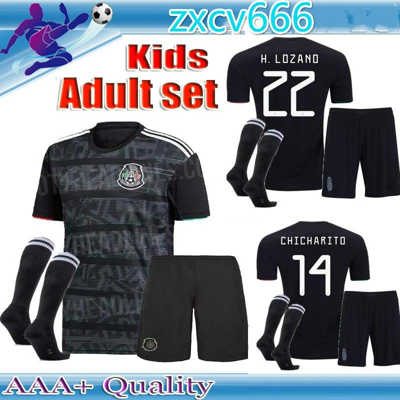 d2256d06471 2019 Adult Kids Kits 2019 Gold Cup Mexico Soccer Jersey Home Black 19 20  CHICHARITO H. LOZANO Youth Child Football Jerseys Set Shirts From  Loveyou20188