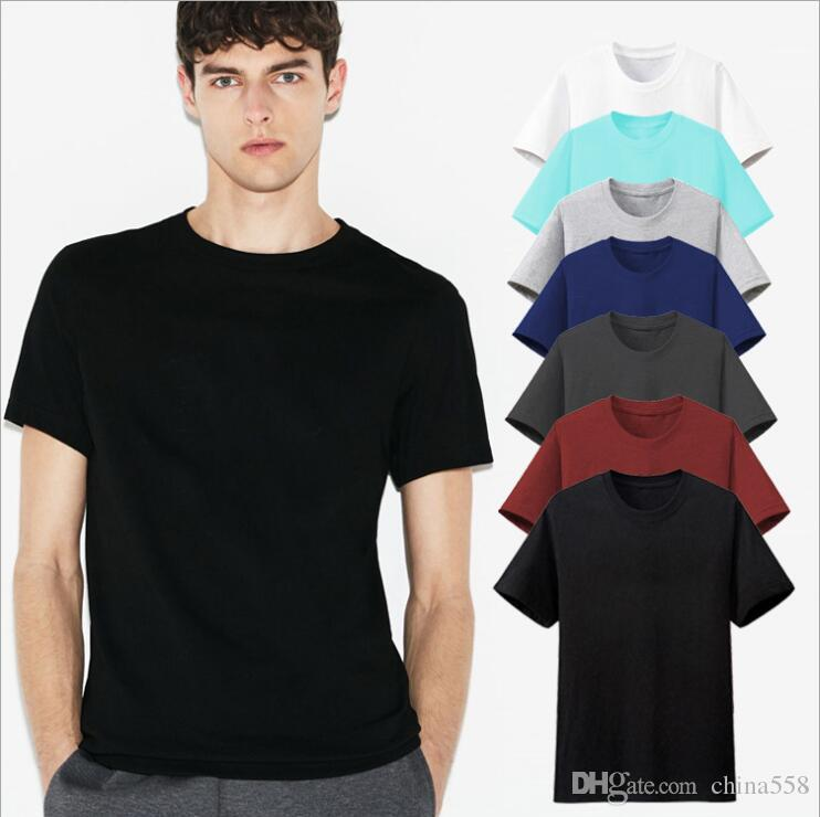 d9fcbd9a89 2019 new hot sale short-sleeved cotton round neck T-shirt classic solid  color loose men's half-sleeve top Men's Tees & Polos