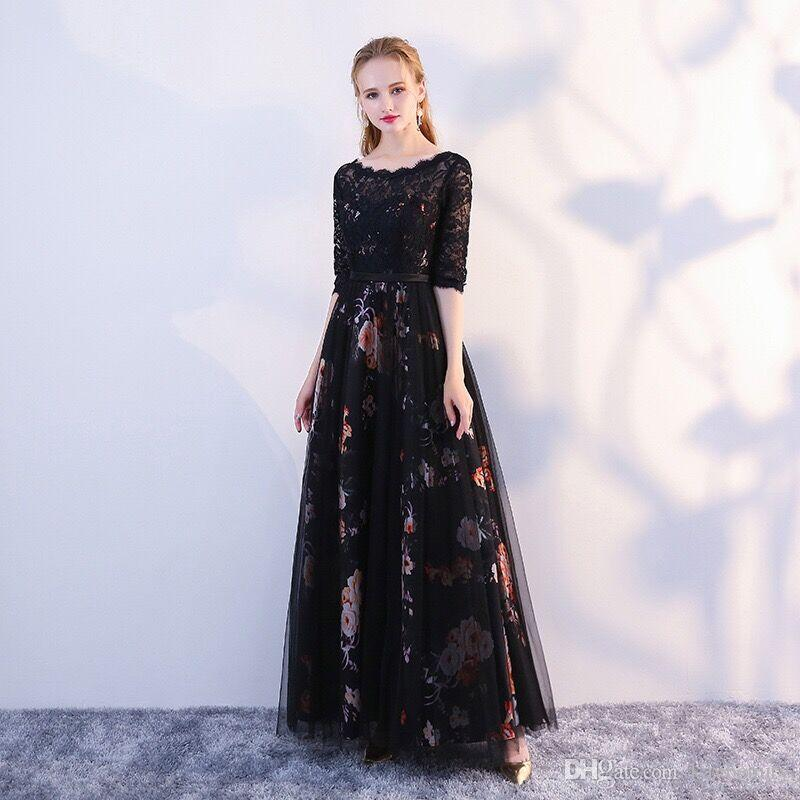 Long Party Evening Dresses Black Formal Lace Gown Flowers A-line Dress with Sleeve for Women & Ladies