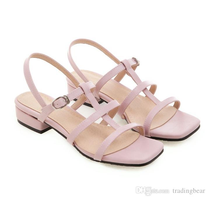 big small size 31 to 42 to 46 casual style yellow blue T strap low heel sandals luxury women designer slides tradingbear