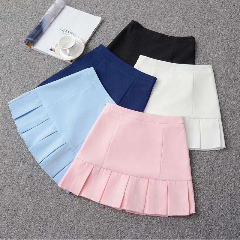 6ff37e794 2019 2018 High Waist Womens Pleated Mini Short Skirt Korean School College  Midi A Line Skirts For Girls Black Pink Navy White From Tangonel, $8.94 |  DHgate.