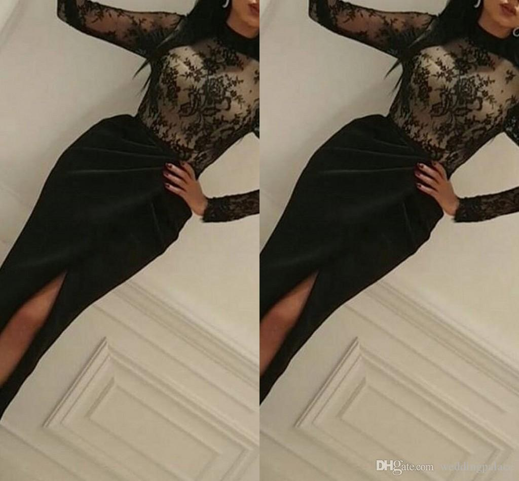8d6491d2cec63 2019 New Fashion Evening Dresses Sexy Black Lace Long Sleeve High Neck 2019  Prom Dress With Split Special Occasion Dresses Front Split Yellow Evening  Dress ...