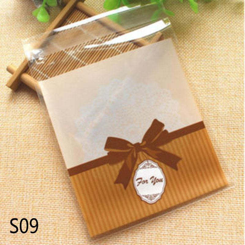 50/100P 10CM Cute Cartoon Gifts Bags Christmas Cookie Packaging Self Adhesive Plastic Bags Wedding Party Biscuit Candy Cake Bag