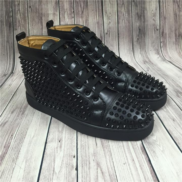 Hot Sell Name Brand Red Sole Black Sneaker Shoe Man Casual Woman Fashion Rivets High Top Men Dress Party Cheap Sneaker Designer Shoes