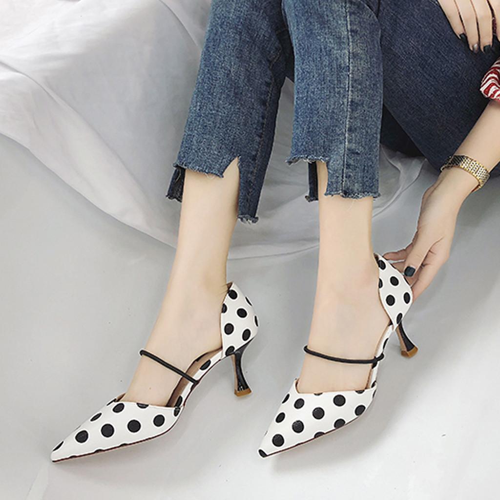 223601aeb2 Compre Sapatos De Vestido Muqgew Nova Moda Mulher Onda Dot Listrado Pontas  Sandálias De Salto Alto Único Tacones Altos Mujer Sexy De Deal3