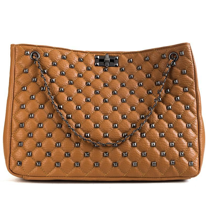 Big bags for women 2019 new korean style wild large capacity tote quilted rivet shoulder messenger bag ladies chain clutch bag