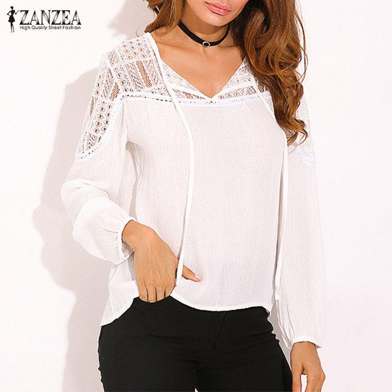 5f0fe48816e1b7 2019 Women Lace Crochet Blouse Boho Tunic Tops 2019 ZANZEA Summer Casual Long  Sleeve Shirts Female V Neck Patchwork Blusas Feminina From Alluring, ...