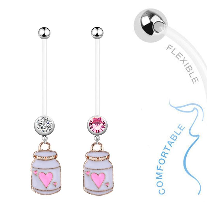 12pcs Bottle Dangle Belly Bars Pregnant Belly Button Rings Fashion Surgical Steel Rhinestone Body Jewelry Navel Piercing Rings