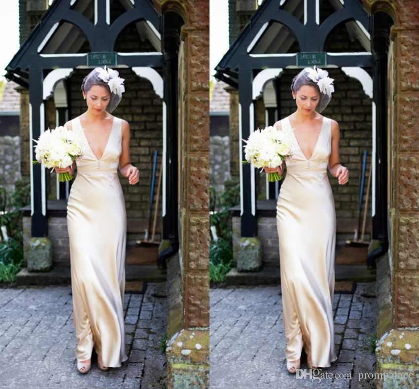Simple Design Wedding Dresses Champagne Satin Deep V-Neck Sleeveless With Zipper Back Bridal Dresses Fashion Wedding Gowns