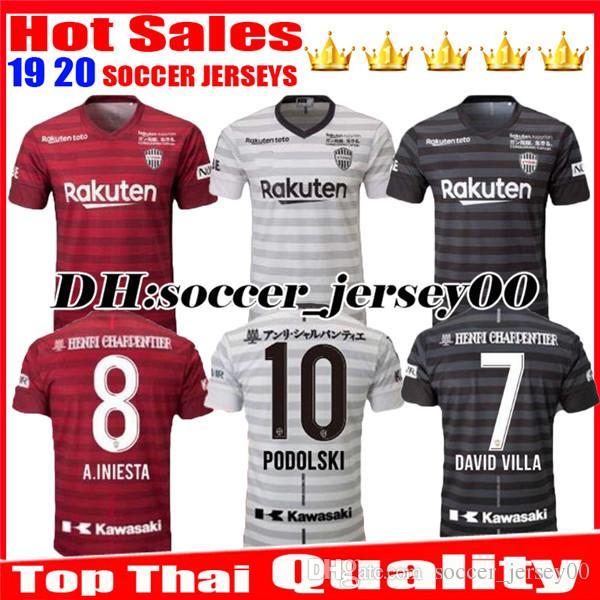 d8e6a88748d 2019 2019 2020 Top Thai Quality Vissel Kobe Soccer Jersey Home Away Third  19 20 A.INIESTA PODOLSKI DAVID VILLA Red Black White Football Shirts From  ...