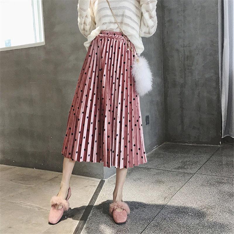 846dbfee8 2019 Nuevas Mujeres de La Moda de Cintura Elástica de Terciopelo Una Línea  de Plisado Swing Falda Larga Casual Mujer Polka Dot Impreso Faldas ropa