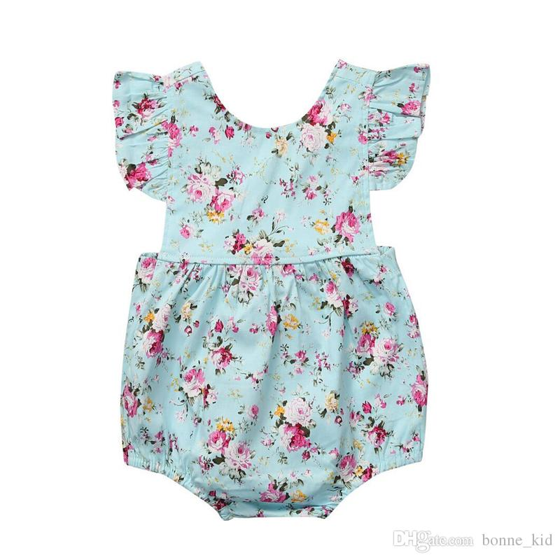 66cddbf2eef 2019 Summer Baby Girl Toddler Blue Flower Rompers Fashion Hot Sale Newborn  Baby Girl Jumpsuits Romper Floral Bodysuit Sunsuit Baby Clothing 0 18M From  ...