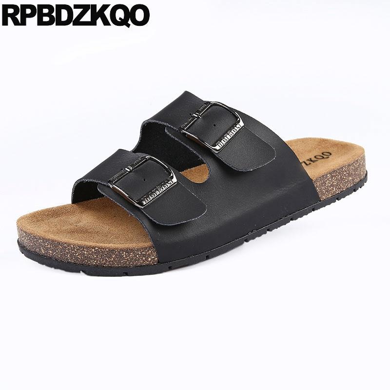 06e9196b7 Men Sandals Leather Summer Outdoor Slides 2019 Size 46 Plus Designer Black  Cork Fashion Shoes Flat Large Casual Beach Slippers Heeled Sandals Boys  Sandals ...