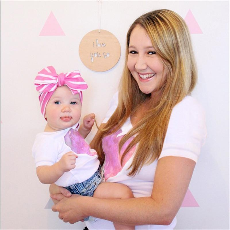 16aeda3075cf 2019 Ins Family Matching Outfits Mom Child Short Sleeve Tees Sets Pink  Heart Print White T Shirts Mother And Daughter Summer Tshirts Matching Mom  Daughter ...
