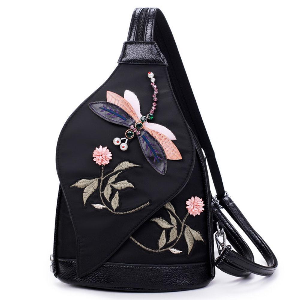 803d48d6de Ladies Girls Vintage Style Traditional Craft Shoulder Backpack Women Stereo  Dragonfly Embroidery Oxford Travel Shoulder Bag Good Quality Backpacks For  Teens ...