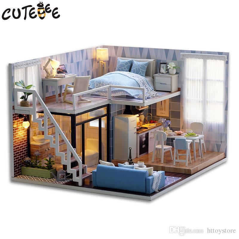 Cutebee Diy Doll House Wooden Doll Houses Miniature Dollhouse