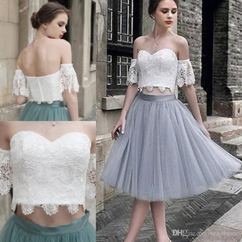 8b86b918fc2 Two Pieces Short Homecoming Dresses A Line 2019 Top Lace Tulle Skirt Off  Shoulder Knee Length Cocktail Prom Party Graduation Dress Plus Size Open  Back ...