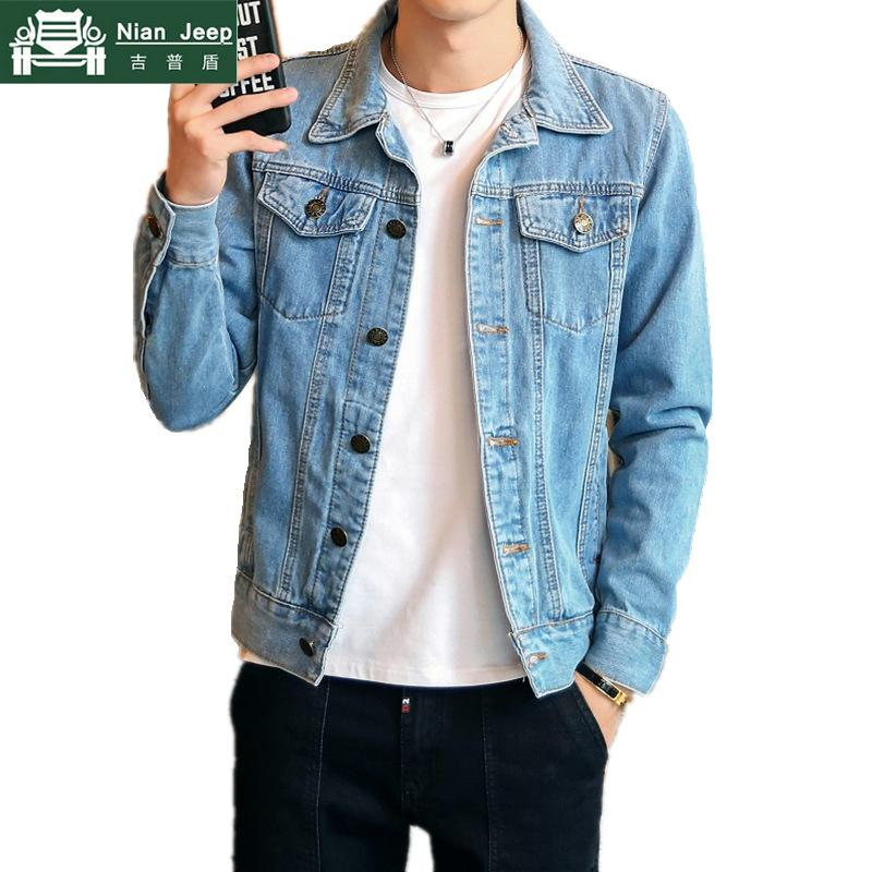 2019 Hot Casual Denim Jacket Men High Quality Streetwear Slim Fit Mens Cowboy Coats Motorcycle Jeans Jacket Male Size M-4XL