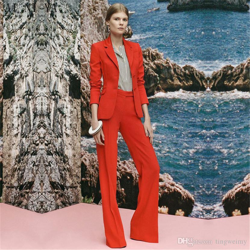 905400bd6 Compre Nuevos Trajes De Pantalón Para Mujer De Color Rojo Para Mujer De  Oficina Uniforme Para Mujer Traje Formal Traje Pantalón De Campana De Fondo  Para ...