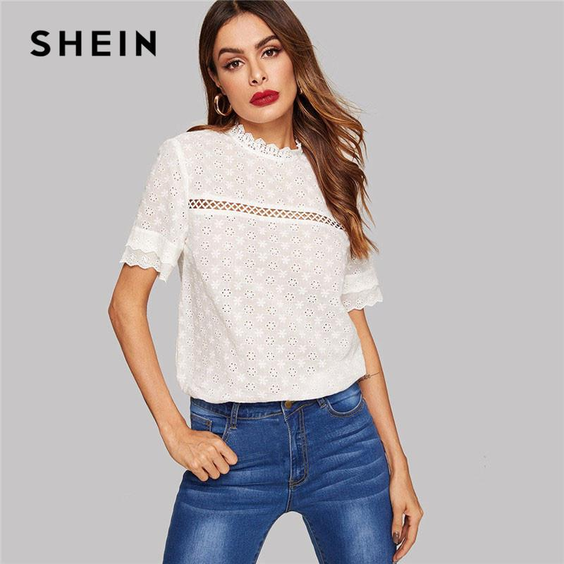 1491121238 2019 Shein Eyelet Embroidered Lace Insert Mock Neck White Blouse Summer  Stand Collar Bohemian Cotton Women Tops And Blouses Y190417 From  Zhengrui01, ...