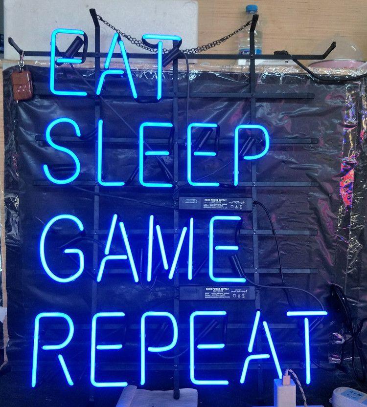 EAT SLEEP GAME REPEAT Neon Sign Light Bar Advertising Entertainment  Decoration Art Display Real Glass Lamp Metal Frame 17 24 30 40