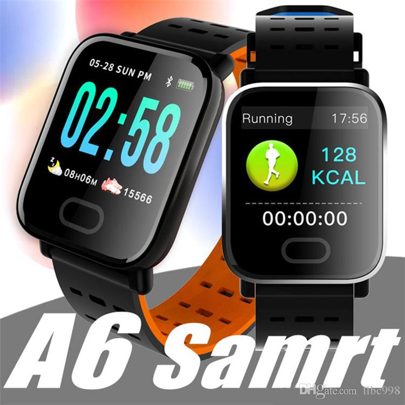 New A6 Wristband Smart Watch Touch Screen IP67 Water Resistant Smartwatch with Heart Rate Smart Bracelet Monitor Sport Running