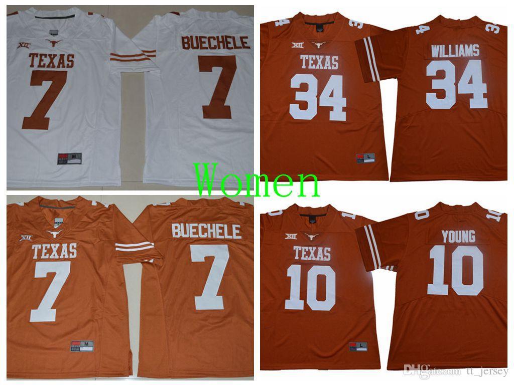 online retailer 30334 4b747 Women NCAA Texas Longhorns Jersey 7 Shane Buechele Vince Young Connor  Williams Football Jersey Custom Cheap Man College Sport Jerseys