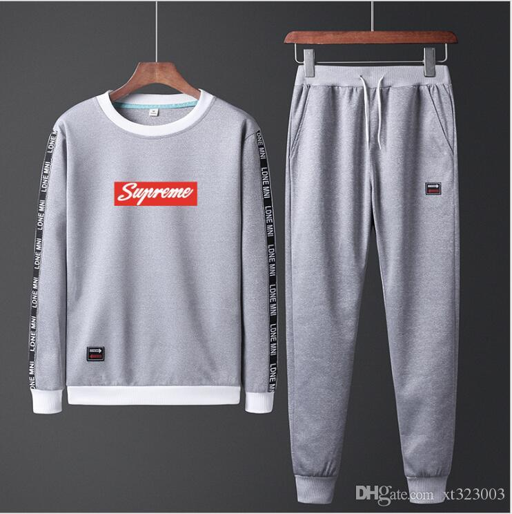 2019 Mens New Sweatshirt + Pants 2pcs/set Zipper Cardigans Prints Stand Collar Casual Tracksuits Big Size Plus Black Navy Gray Y1706