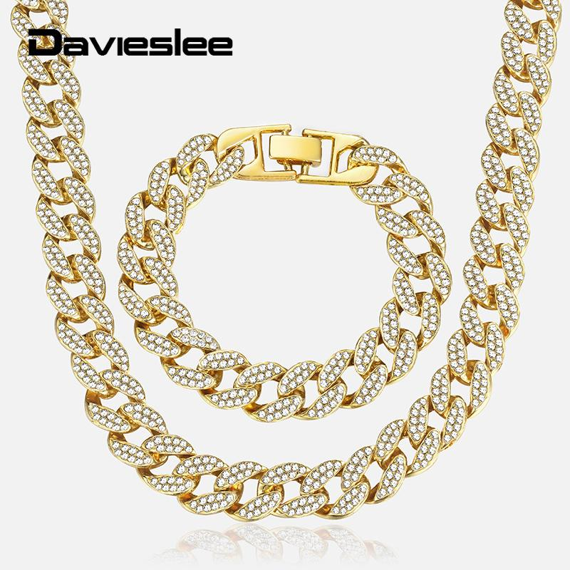 55e069190 2019 Davieslee Hip Pop Mens Jewelry Sets Iced Out Gold Miami Curb Cuban  Chain Bracelet Necklace Set For Men Dropshipping 2019 LGS286 C19011501 From  Shen84, ...