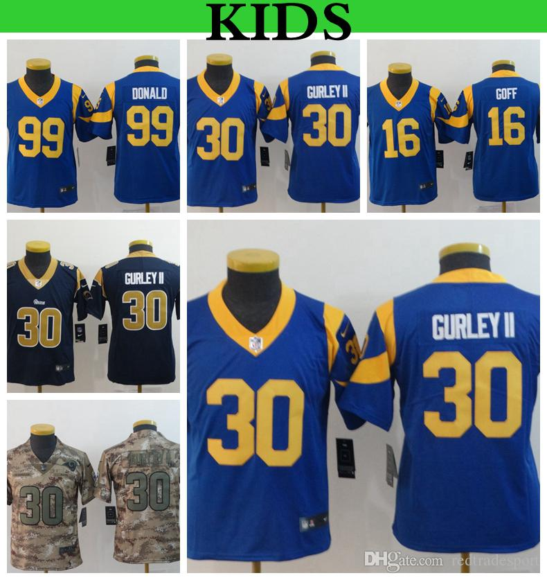new style b4ce4 254ca Youth Los Angeles Kids Rams 30 Todd Gurley II Football Jerseys 99 Aaron  Donald 16 Jared Goff Camo Salute to Service Stitched Shirts