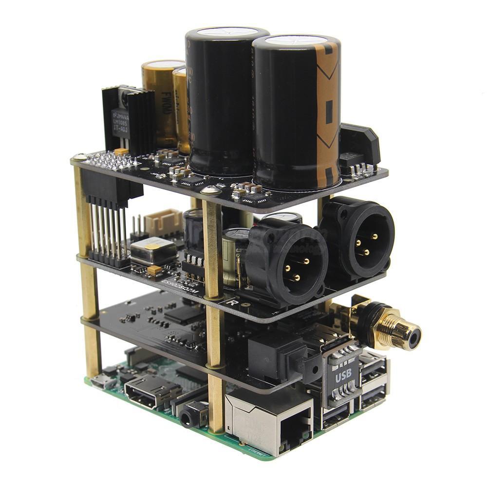 Freeshipping Raspberry Pi X20-XLR Hifi Audio Kit (X20-XLR ES9028Q2M Board  X10-I2S Board X10-PWR Power Supply Board)