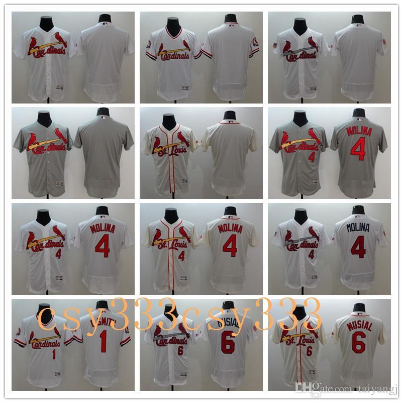 6b50f61971c Men s Elite St. Louis Cardinals  1 Ozzie Smith  4 Yadier Molina  6 ...