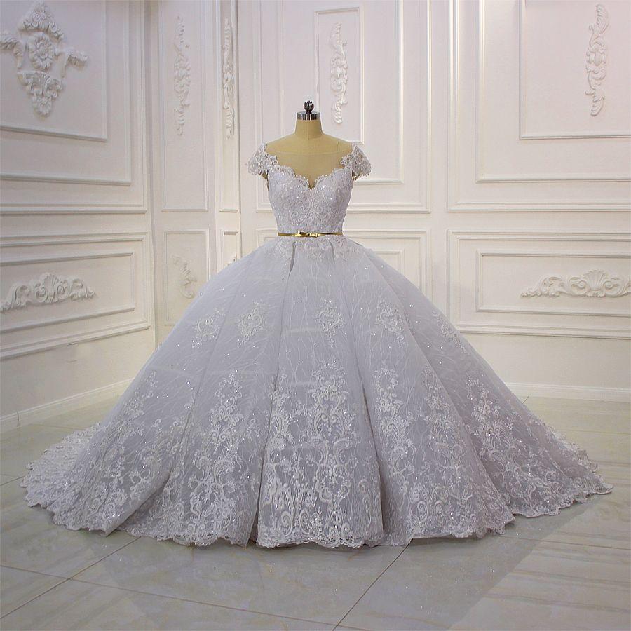 351e2e3a4e39 Wholesale Design Short Sleeve Lace Applique Pleat Snow White Wedding Dress  White Ball Gowns Ball Gown Wedding Dress From Zhanhuajewelry