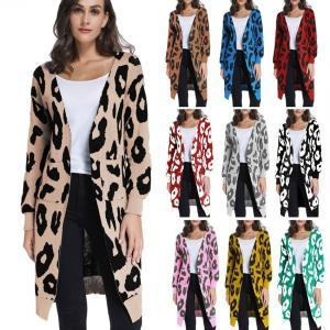01d5c47d1db Women Knitted Long Cardigans Casual Leopard Loose Autumn Long Sleeve ...