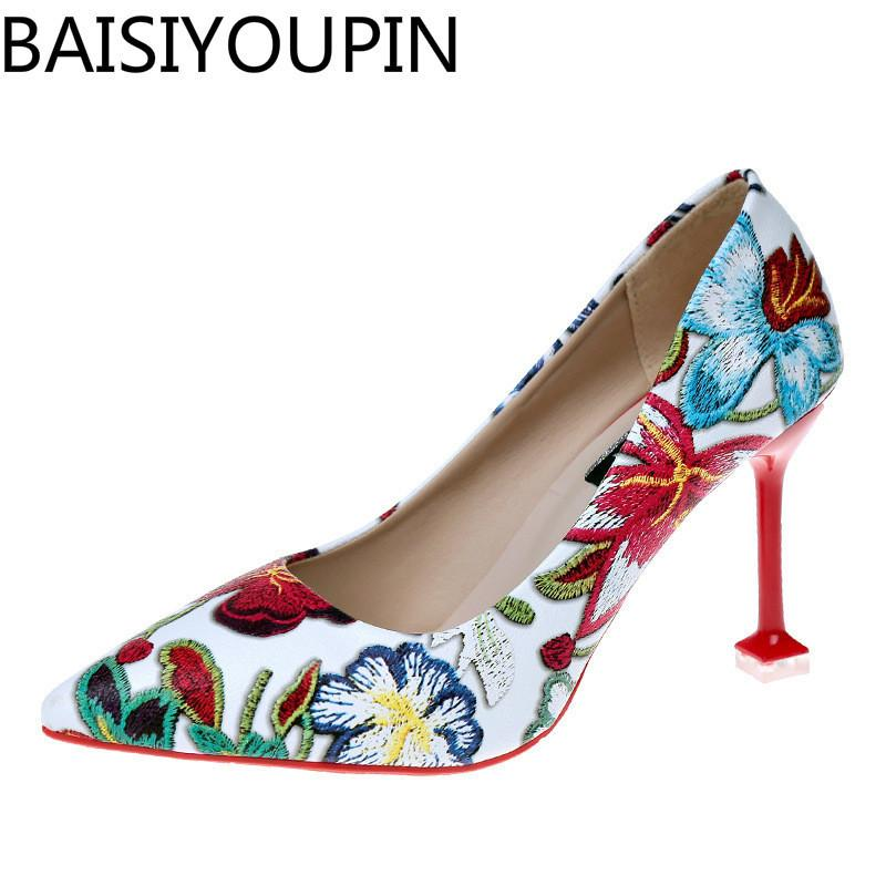 b53a67ea4ab Dress Shoes 2019 Korean Versionsexy Cat Heels Pointed Shoe Shallow Mouth  Temperament Floral Pattern Thin Heel Pumps For Women Single Summer Shoes  Womens ...
