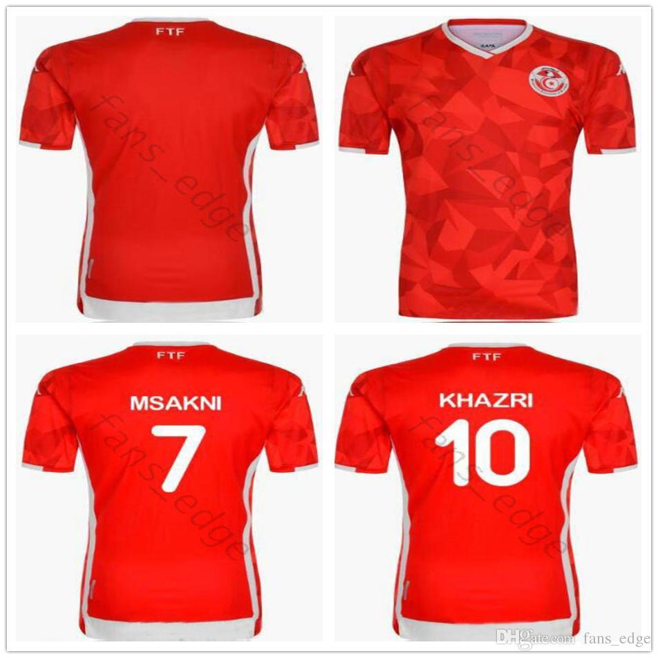 designer fashion 5fd29 f9fdb 19 20 Tunisia National Team Soccer Jersey 7 Msakni 10 Khazri 23 Sliti Wahbi  FAKHREDDINE BEN YOUSSE HAMZA Custom best quality football shirt