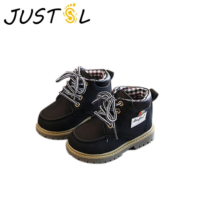 JUSTSL 2020 Autumn New Child Fashion Boots Kids Black Martin boots Fashion Girls Boys Non-slip Toddler Shoes Size 22-26