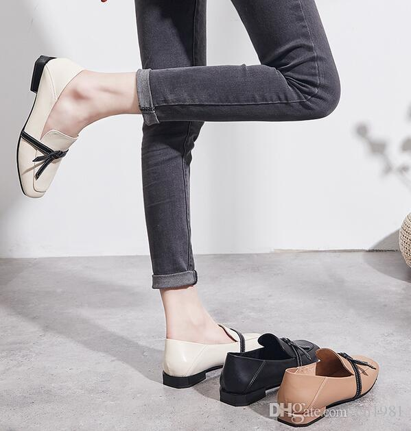 2019 Best Selling Women Loafers Bowtie Moccasins Shoes Mules Square Toes  Flats Leather Shoes High Quality Fashion Party Shoes Size 35~40 Running Shoes  Shoes ... a514adcb0cc9