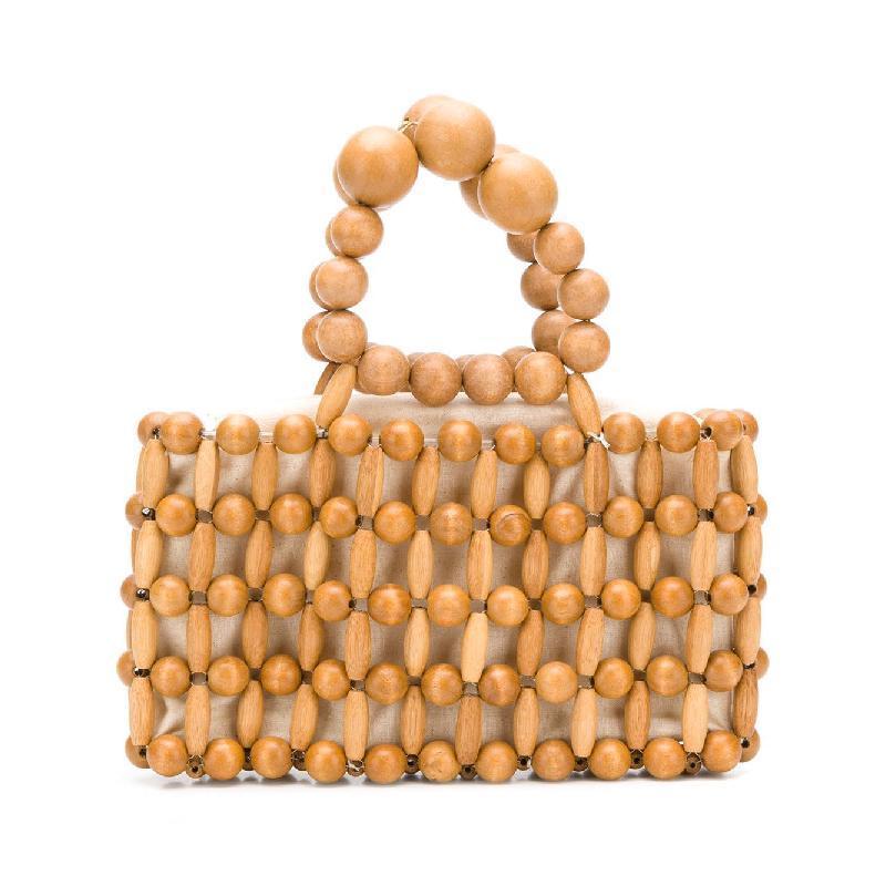 37d204d6908 Bamboo bag Vintage Women Wood Beaded Handbag Handmade Wood Beading Bags  Girls Mini Totes Fashion Summer Beach Bag Dropshipping