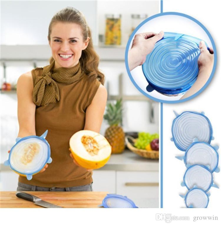 6PCS/Set Universal Silicone Suction Lid-bowl Pan Cooking Pot Lid-silicon Stretch Lids Silicone Fruit Cover Pan Spill Lid Stopper Cover D0414