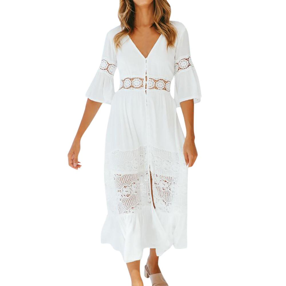 9547b11dc308 Compre Mulheres Branco Dres V Neck Meia Manga Oco Out Vestidos De Renda  Manga Flare Lady Bohemian Vestido Longo # BF De Bibei10, $37.24    Pt.Dhgate.Com