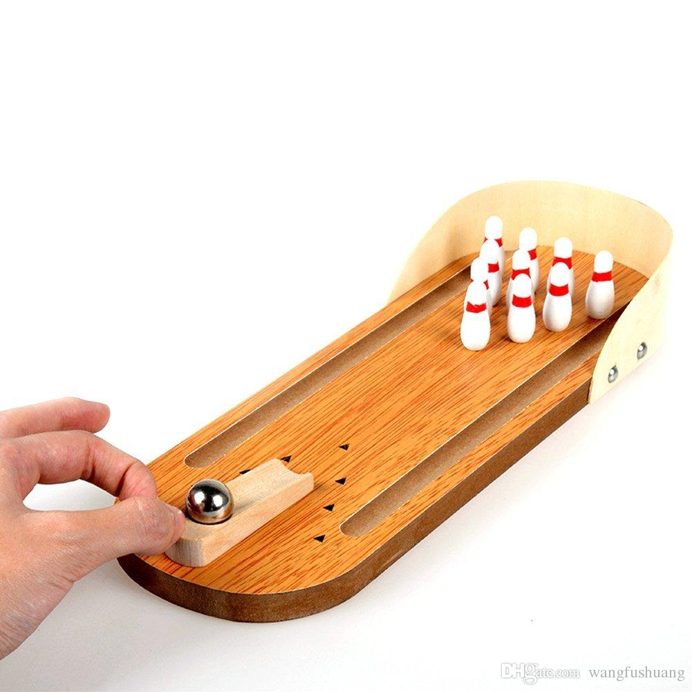 Children Wooden Mini Desktop Bowling Game Toys Desk Ball Board Games Fun High Safety Home