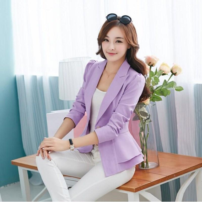 2019 Autumn Fashion Women Blazers And Jackets One Button Long Sleeve Blazers Ruched Ladies Plus Size Female