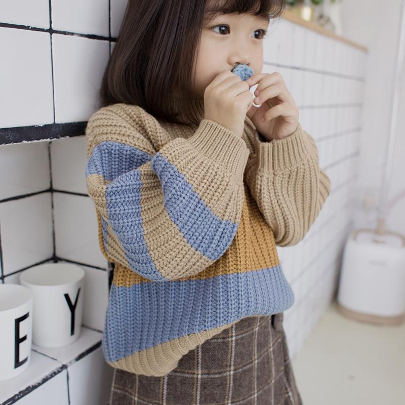 ac6e4f6aba63 Boys Girls Striped Sweaters For Fall Winter Cotton Material Elegant Kids  Knit Wear Children S Pullover Clothing Free Knit Patterns For Childrens  Sweaters ...