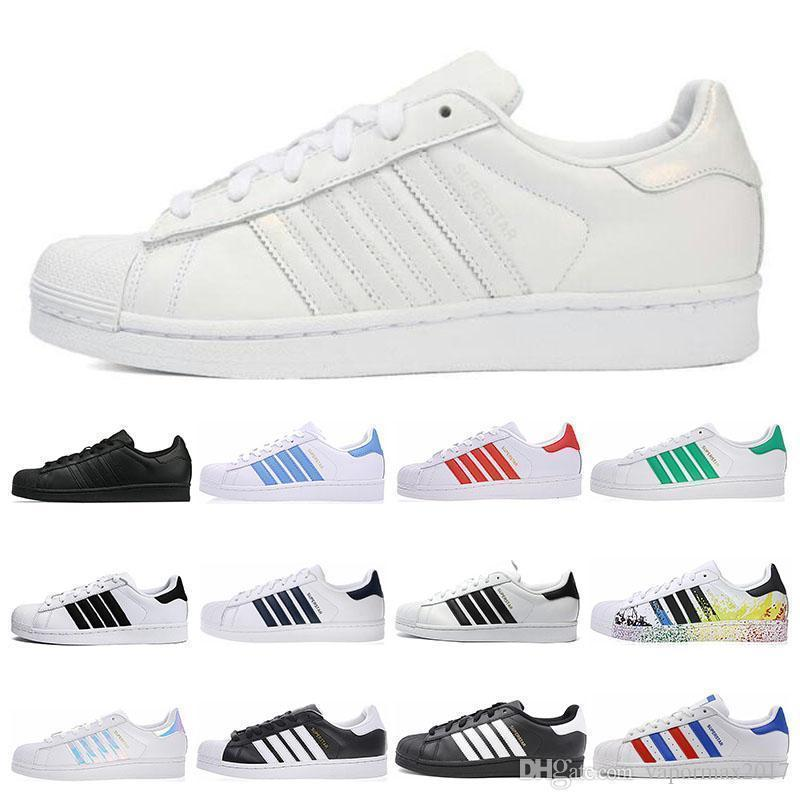 New Super Star White Hologram Iridescent Junior Men Superstars 80s sneakers Pride Womens Mens Trainers Superstar Casual Shoes 36-44
