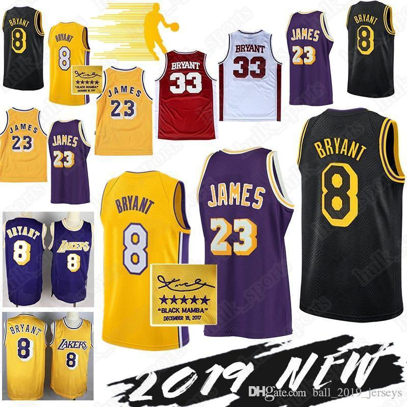 buy popular 9f3fc b4e36 Kobe 8 Bryant retro jersey Los Angeles 23 LeBron James Laker jersey Kobe 33  Bryant Basketball Jerseys