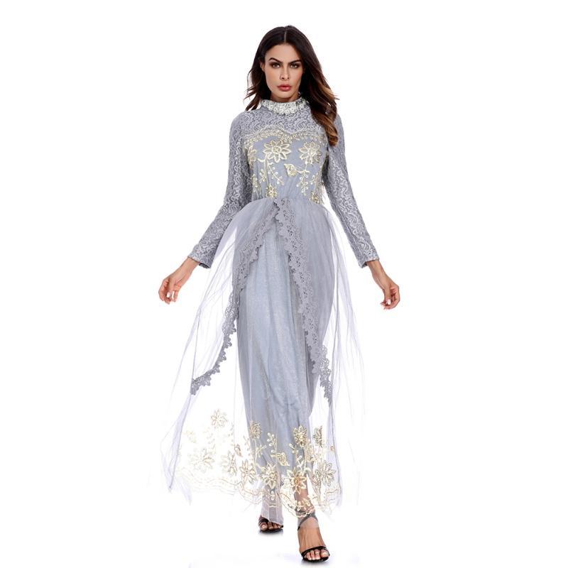 a163dbf24aa Acheter Musulman Adulte Maille Abaya Mode Arabe Turquie Moyen Orient  Broderie Dentelle Robes Musulmanes Robe Musicale Ramadan Abayas De  46.68 Du  Octavi ...
