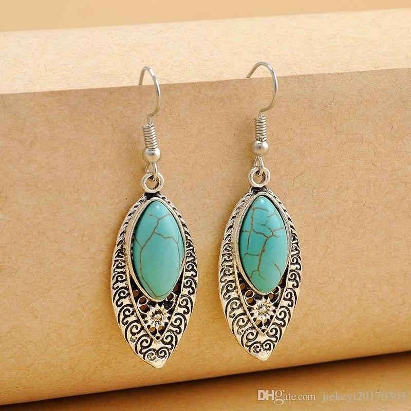 Bohemia Tibetan Vintage Silver Turkish Drop Dangle Earings Gypsy Ethnic Stone India Hanging Earrings pendientes mujer