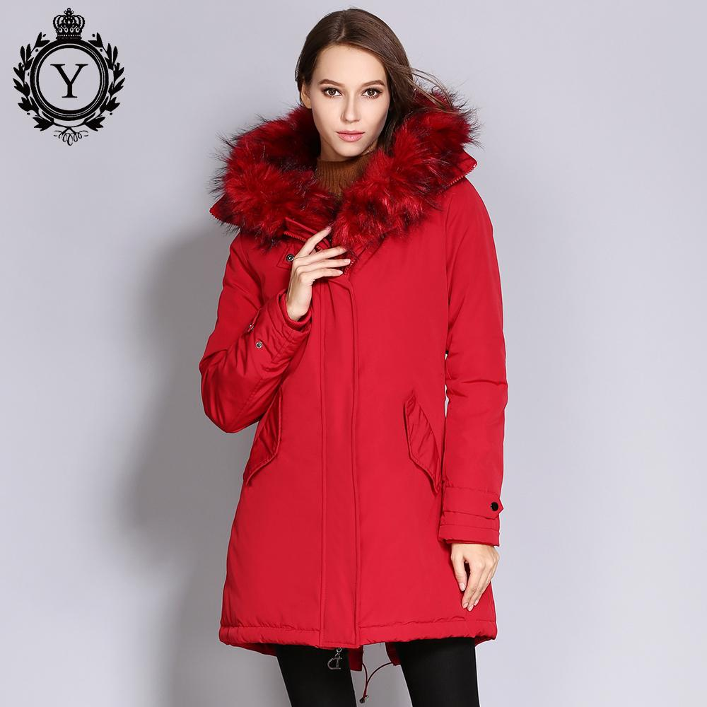 1c815f59a5a 2019 Women S Winter Jacket 2018 Fur Collar Coats Female Warm Parkas Thick  Solid Red Hooded Long Coat Cotton Padded Fur Parka From Johnnyyan